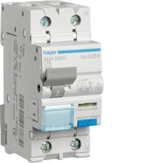 Hager aardlekautomaat / 1-polig + nul, 30mA, C16A / ADA566G