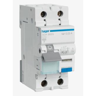 Hager aardlekautomaat / 1-polig + nul, 30mA, C10A / ADA960G