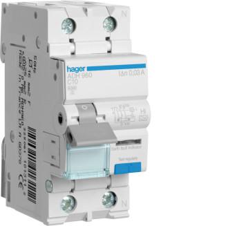 Hager aardlekautomaat / 1-polig + nul, 30mA, C10A / ADH960
