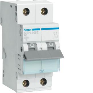 Hager installatieautomaat / 2-polig, B6A / MBN206E
