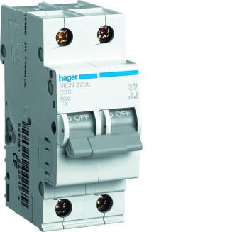 Hager installatieautomaat / 2-polig, C20A / MCN220E