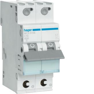 Hager installatieautomaat / 1-polig + nul, C10A / MCS510E