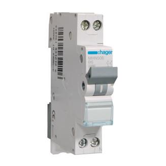 Hager installatieautomaat / 1-polig + nul, B6A / MHN506