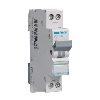 Hager installatieautomaat / 1-polig + nul, C6A / MJN506