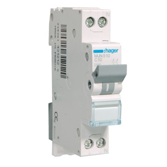 Hager installatieautomaat / 1-polig + nul, C10A / MJN510