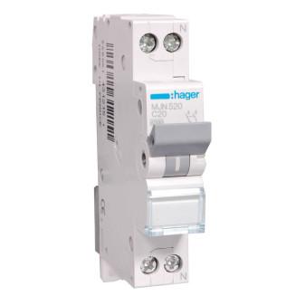 Hager installatieautomaat / 1-polig + nul, C20A / MJN520