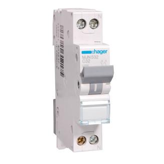 Hager installatieautomaat / 1-polig + nul, C32A / MJN532