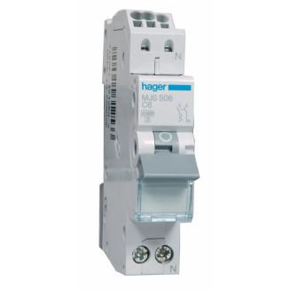 Hager installatieautomaat / 1-polig + nul, C6A / MJS506