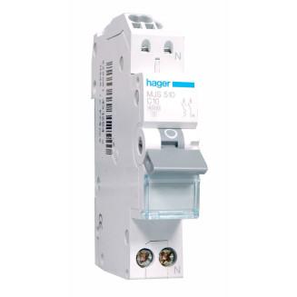Hager installatieautomaat / 1-polig + nul, C10A / MJS510