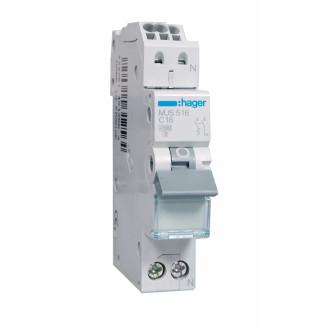 Hager installatieautomaat / 1-polig + nul, C16A / MJS516