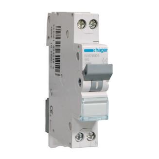 Hager installatieautomaat / 1-polig + nul, B6A / MKN506