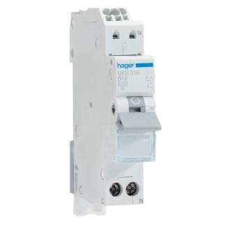 Hager installatieautomaat / 1-polig + nul, B16A / MKS516