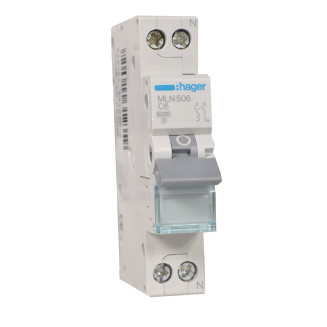 Hager installatieautomaat / 1-polig + nul, C6A / MLN506