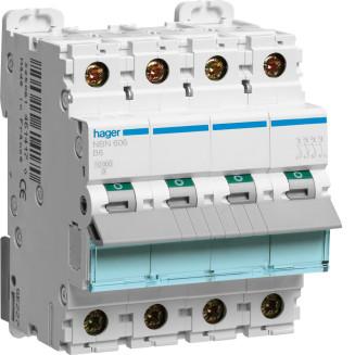 Hager installatieautomaat / 3-polig + nul, B6A / NBN606
