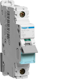Hager installatieautomaat / 1-polig, C4A / NCN104