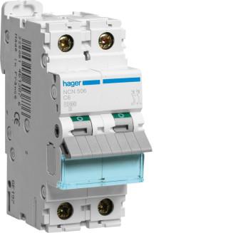 Hager installatieautomaat / 1-polig + nul, C6A / NCN506