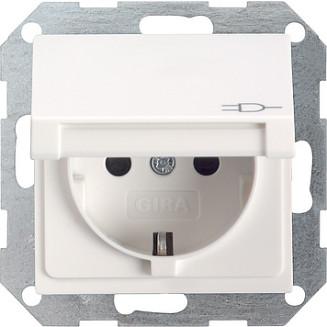 Gira | wandcontactdoos met klapdeksel en randaarde | standaard 55 ZWM
