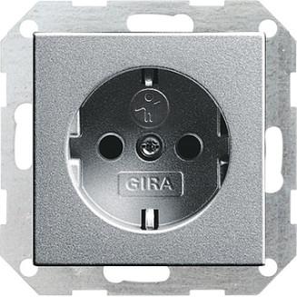 Gira   wandcontactdoos randaarde en kindveilig   Systeem 55 ALU   275526