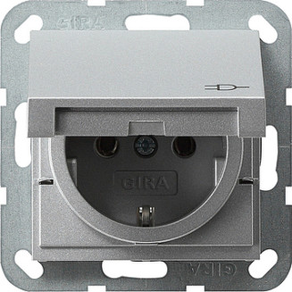 Gira   wandcontactdoos met randaarde en klapdeksel   Systeem 55 ALU   045426