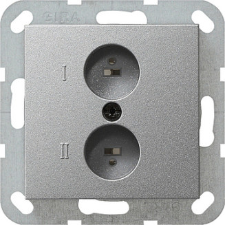 Gira | inzetplaat stereo wandcontactdoos | Systeem 55 ALU | 040226