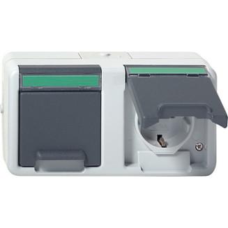 Gira | Wandcontactdoos randaarde 2-voudig ammoniak bestendig met klapdeksel en tekstkader | Spatwaterdicht Opbouw IP44 | 078430
