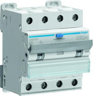 Hager aardlekautomaat / 3-polig + nul, 30mA, B32A / ADM432G