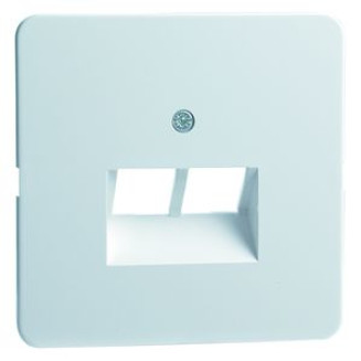 Peha | Centraalplaat voor UAE/Data wandcontactdoos 2-voudig | Standaard Glanzend Wit | 80.610.02 UAE/2-N