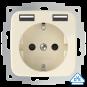 Wandcontactdoos met dubbele USB (2x A) aansluiting - inCharge PRO SI - Crème wit
