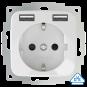 Wandcontactdoos met dubbele USB (2x A) aansluiting - inCharge PRO SI - Glanzend wit